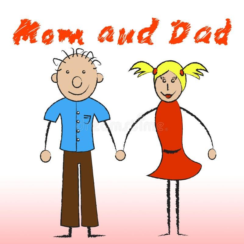 Мама и папа показывают отродье и семью материнства иллюстрация штока