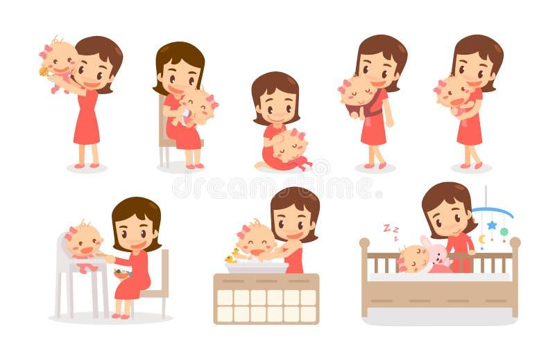 Мама и ребенок Мама и младенец в различных действиях Прекрасная семья иллюстрация штока