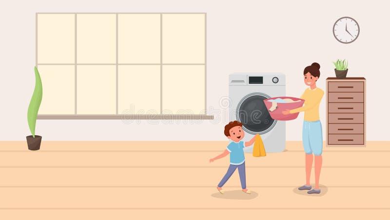Мама и сын делая иллюстрацию прачечной Счастливая мать порции ребенка делая отечественные работы по дому, домоустройство Родитель бесплатная иллюстрация