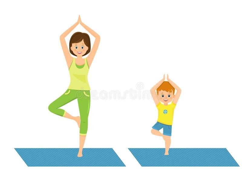 Мама и сын делая йогу иллюстрация вектора