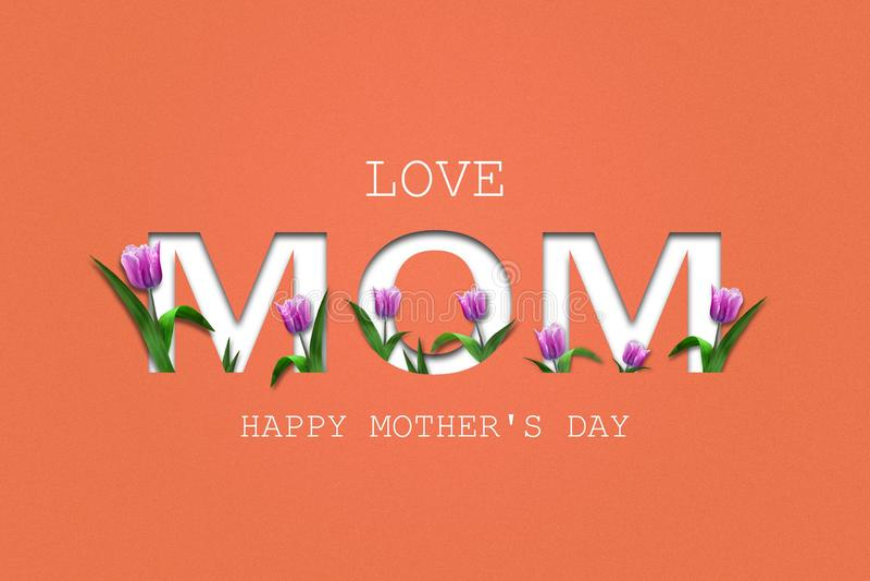 Мама любов, режа надпись на предпосылке коралла E Счастливый День матери, поздравительная открытка r иллюстрация вектора