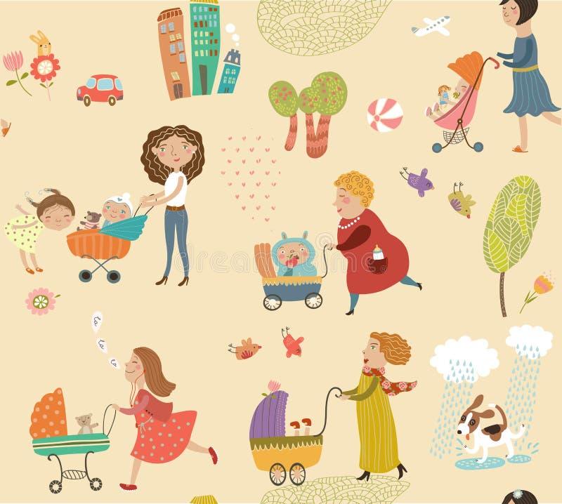 Мама на прогулке с их детьми, милой картине иллюстрация вектора