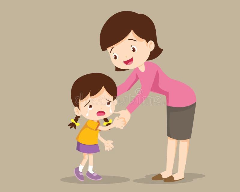 Мама обнимая дочь и говоря к ей бесплатная иллюстрация