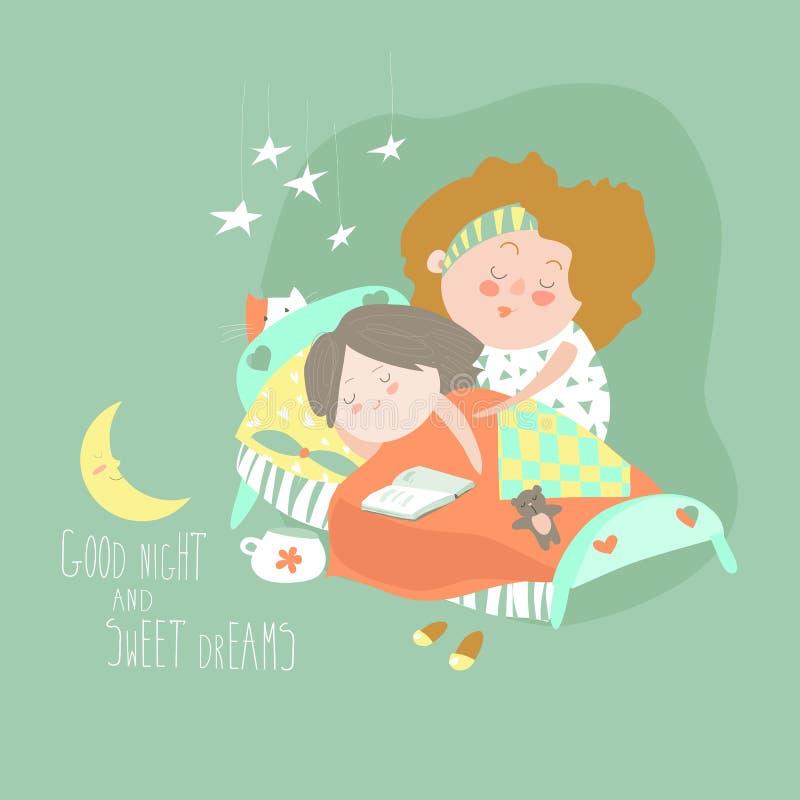 Мама целует дочь на времени ложиться спать иллюстрация вектора