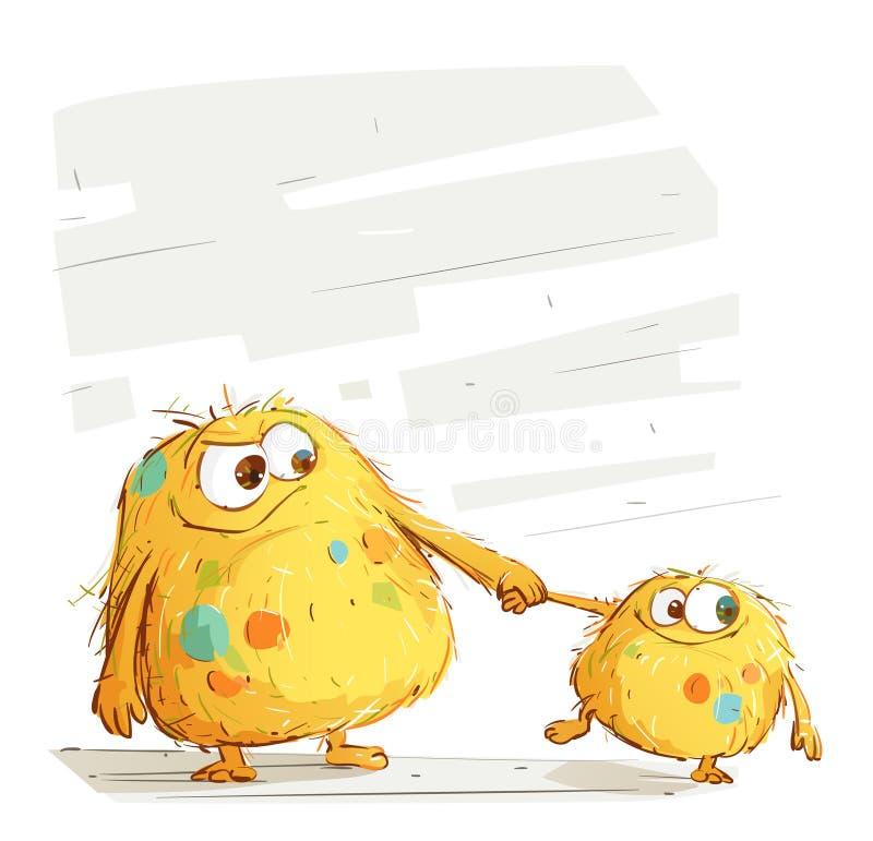 Мама чудовища и ее ребенк иллюстрация штока