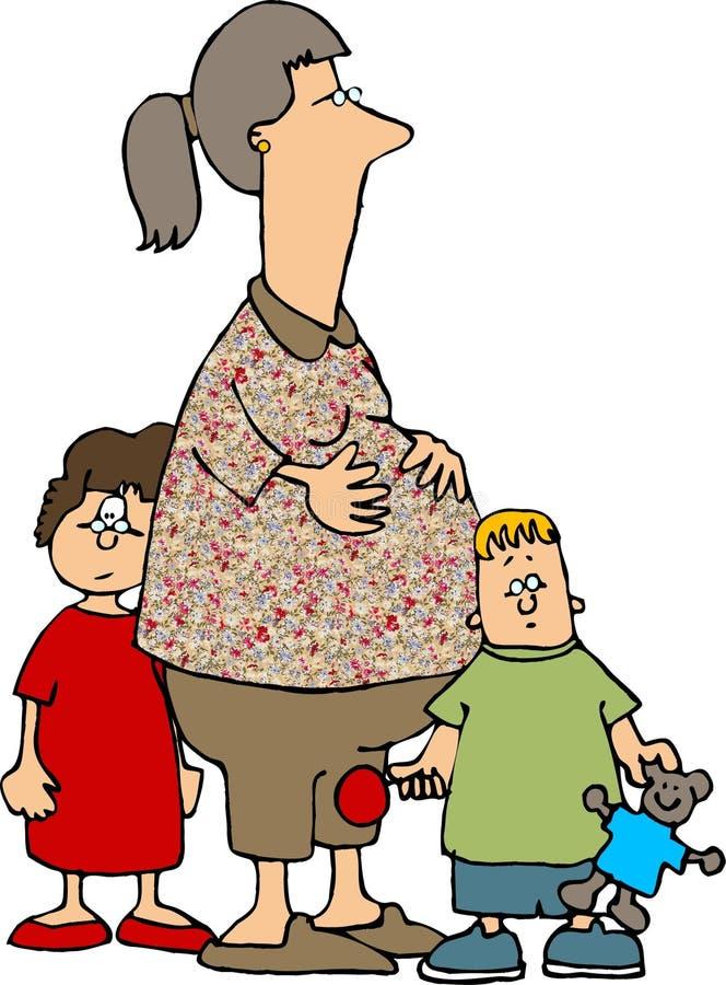 мама 2 малышей иллюстрация вектора