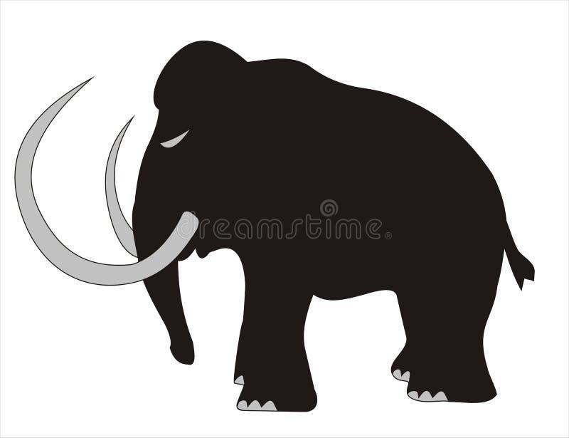 мамонтовый силуэт шерстистый иллюстрация вектора