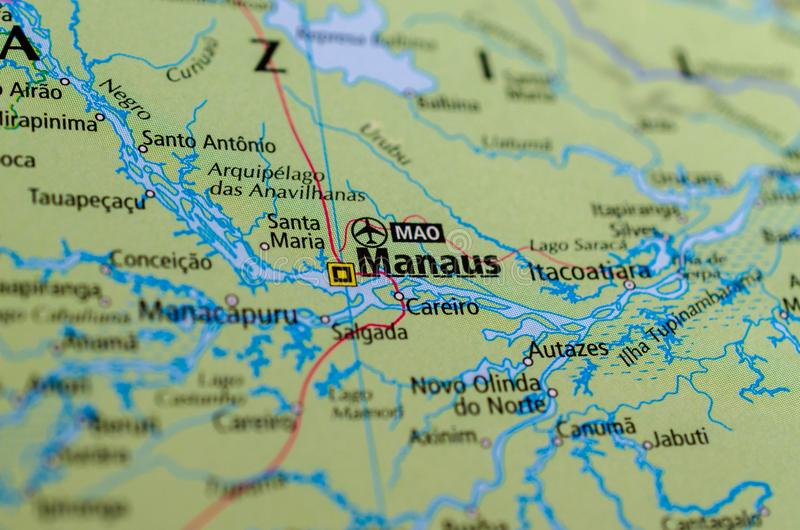 Манаус на карте стоковые изображения