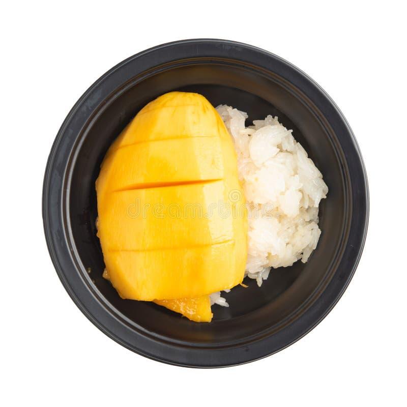 Манго с липким рисом на белой предпосылке стоковое изображение