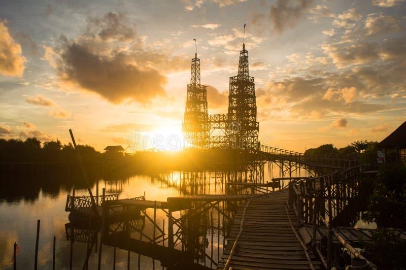 Мангрова Jembatan Api-api Kulonprogo стоковые изображения rf