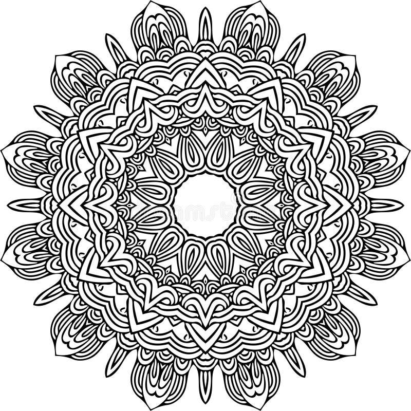 Мандала в черных линиях иллюстрация штока