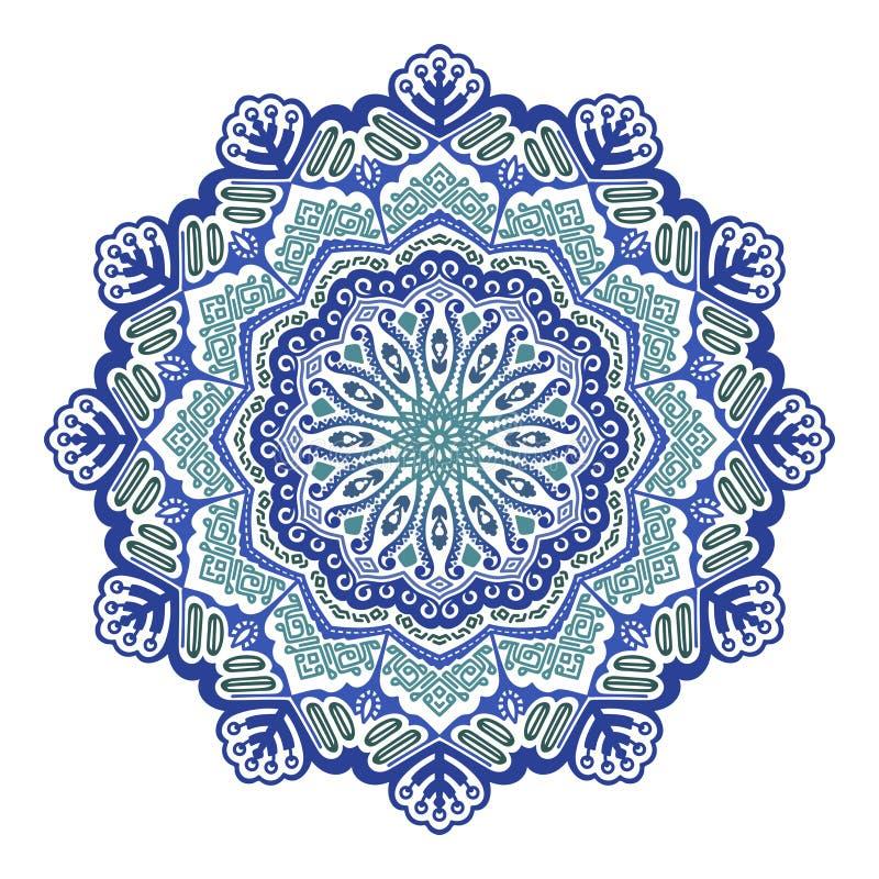 Мандала голубого цвета конспекта вектора флористическая на белой пре иллюстрация вектора