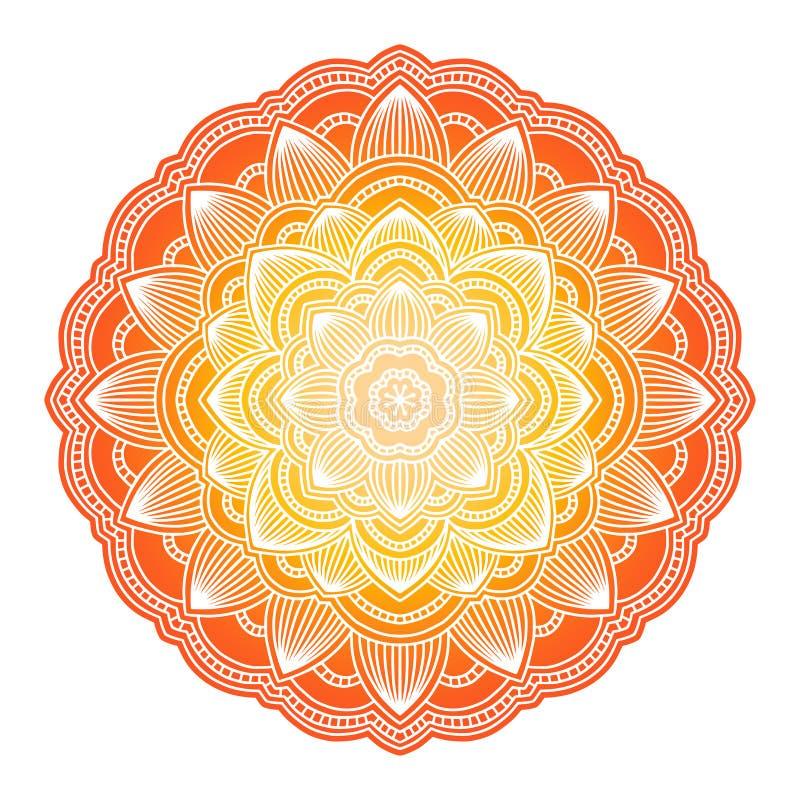 Мандала градиента Орнамент круга этнический Элемент руки вычерченный традиционный индийский круглый Духовная хна йоги раздумья иллюстрация вектора