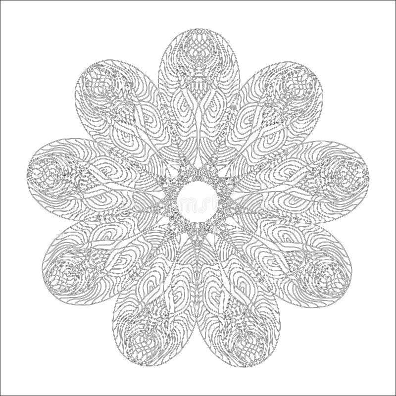 Мандала для страницы книжка-раскраски Орнамент конспекта декоративный круглый Antistress искусство для взрослых конструкция легка иллюстрация вектора