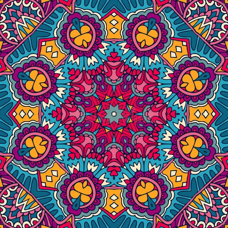 мандала Красочный этнический круглый орнамент мир вектора искусства светлый иллюстрация вектора