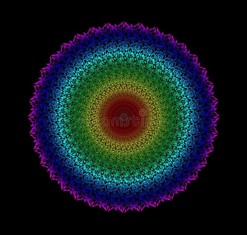 Мандала круга Красочная картина радуги на черной предпосылке Духовный эзотерический символ иллюстрация вектора