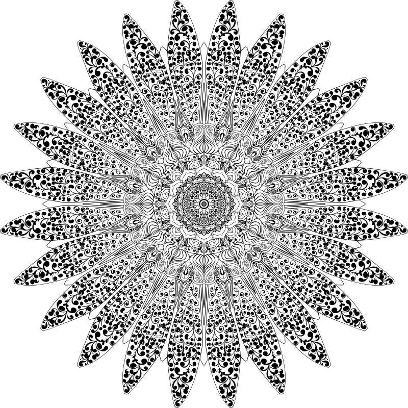 Мандала нарисованная в руководстве иллюстрация вектора