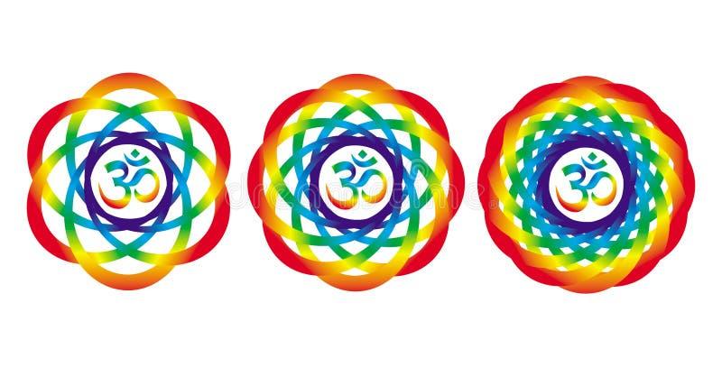 Мандала радуги с знаком Aum Om Абстрактный художнический объект иллюстрация вектора