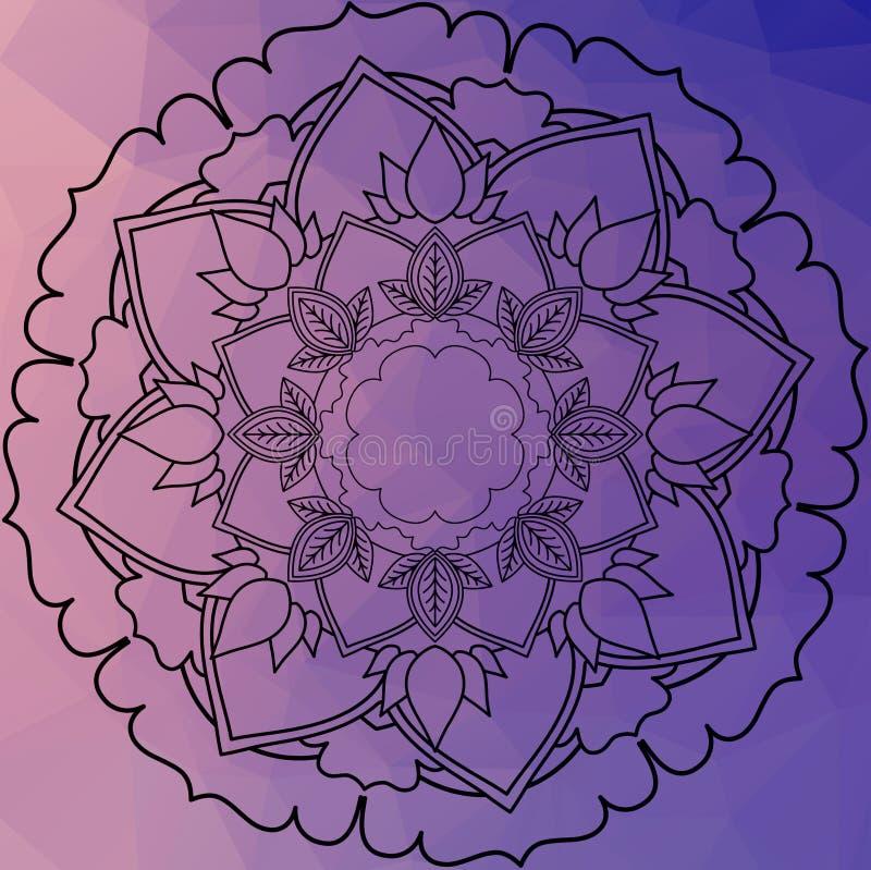 Мандала цветка декоративный сбор винограда элементов Восточная картина, o иллюстрация вектора