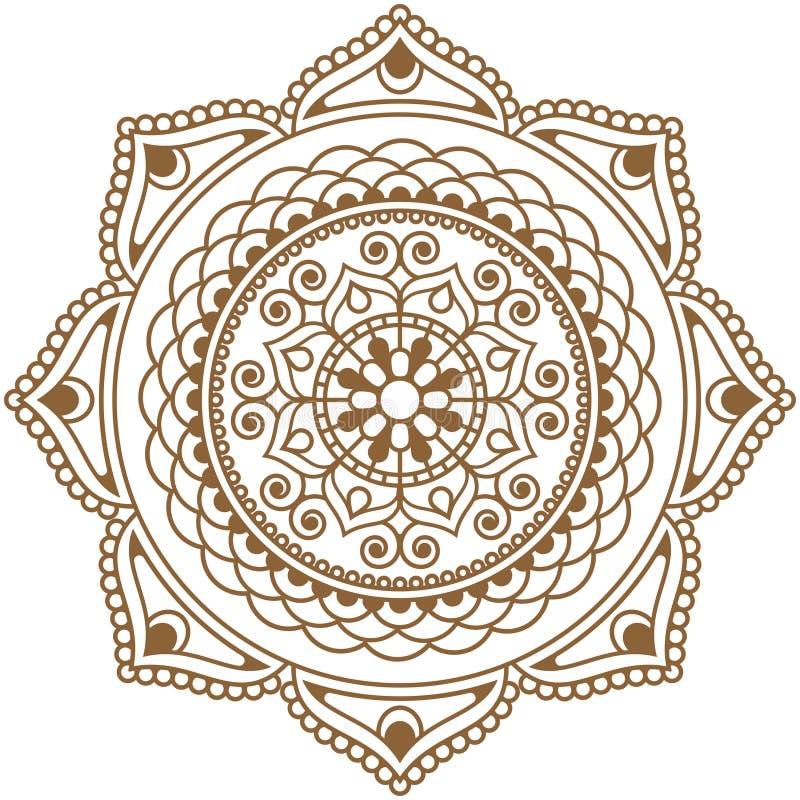Мандала цветка элемента хны Mehndi коричневая индийская для tatoo или карты иллюстрация штока