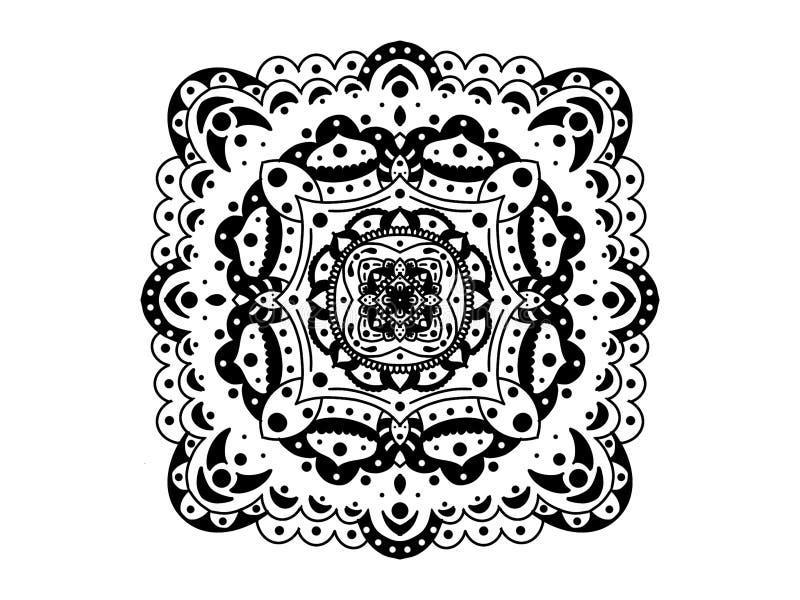 мандала черная белизна вектор орнамента круглый стоковая фотография rf
