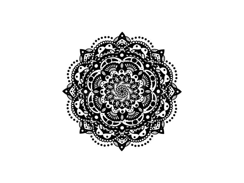 мандала черная белизна вектор орнамента круглый стоковые изображения