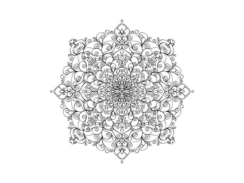 мандала черная белизна вектор орнамента круглый стоковое фото