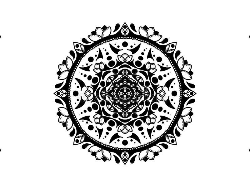 мандала черная белизна вектор орнамента круглый стоковое изображение rf
