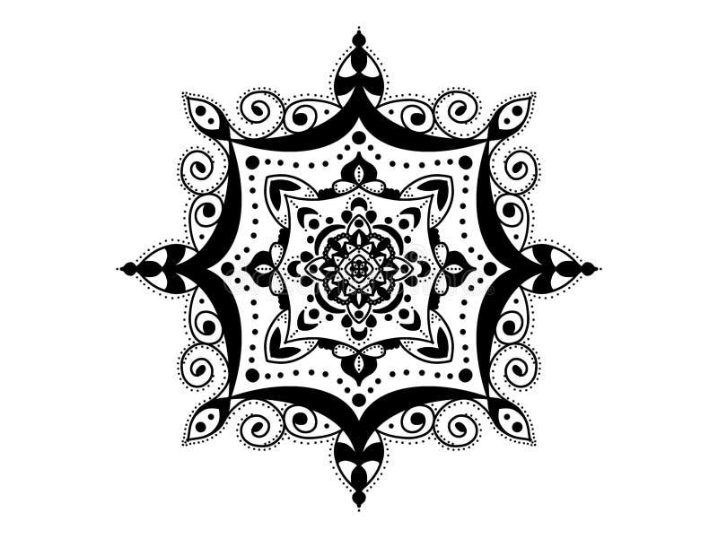 мандала черная белизна вектор орнамента круглый стоковое изображение