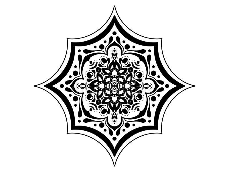 мандала черная белизна вектор орнамента круглый стоковые фото