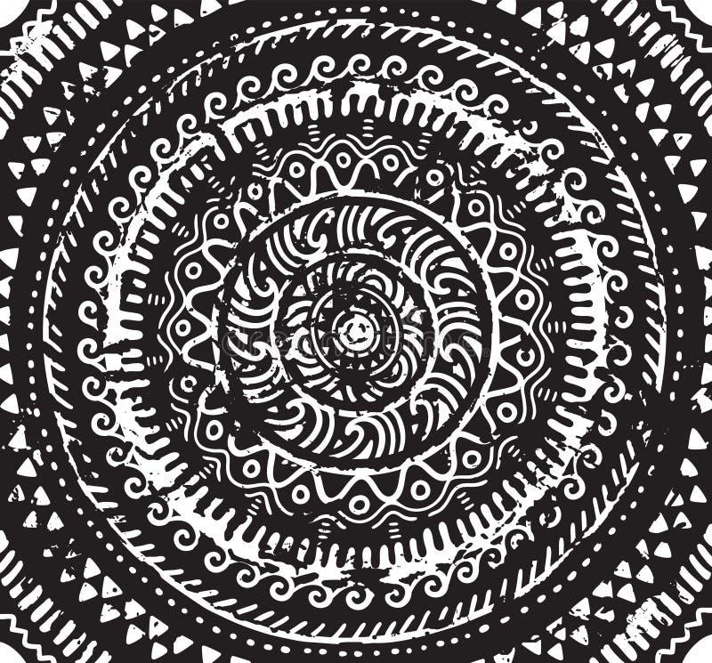 Мандала чернил декоративная в африканском стиле также вектор иллюстрации притяжки corel иллюстрация вектора