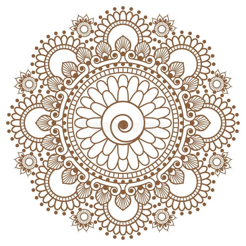 Мандала элемента коричневого цвета хны Mehndi индийская для tatoo или карты бесплатная иллюстрация