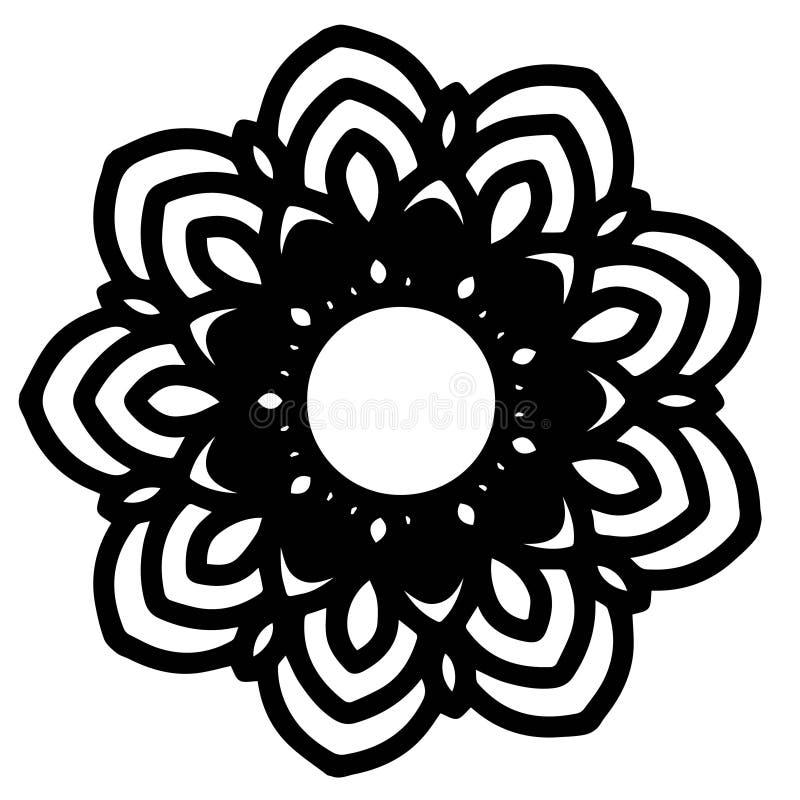 Мандалы для книжка-раскраски Декоративные круглые орнаменты Необыкновенная форма цветка Восточный вектор, картины терапией Анти-- иллюстрация вектора