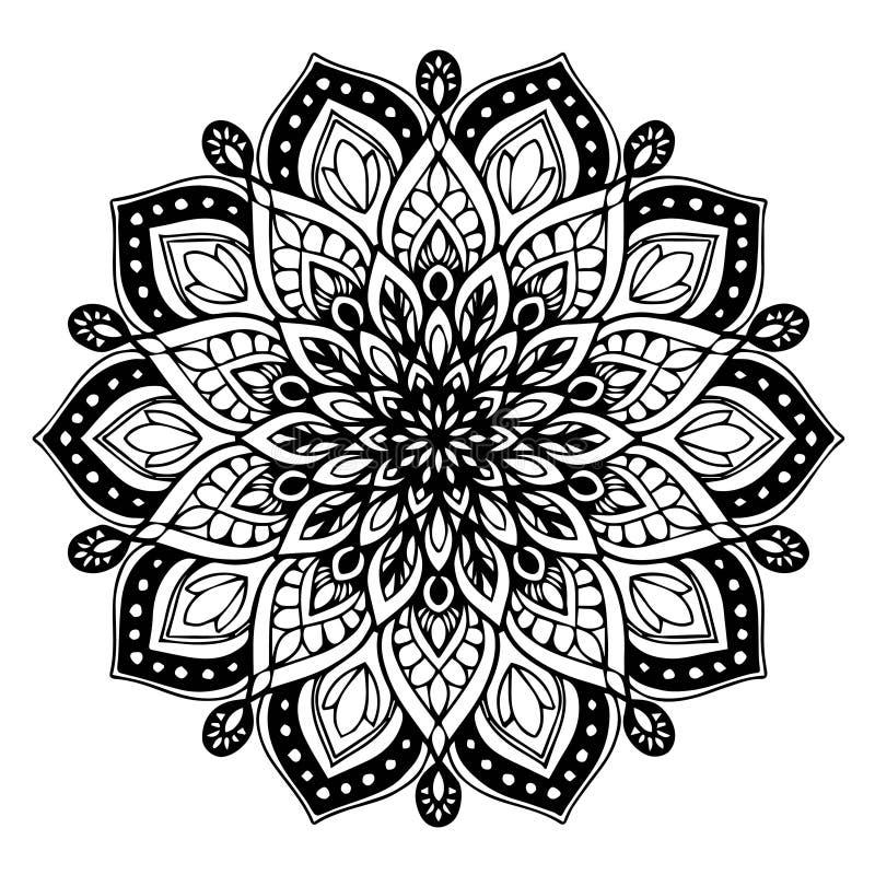 Мандалы для книжка-раскраски Декоративные круглые орнаменты Необыкновенная форма цветка Восточный вектор, картины терапией Анти-- бесплатная иллюстрация