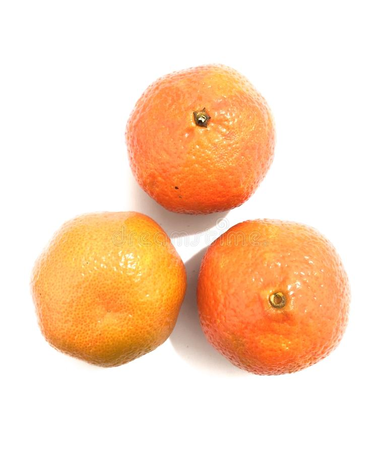 3 мандарина изолированного на белой предпосылке стоковые изображения