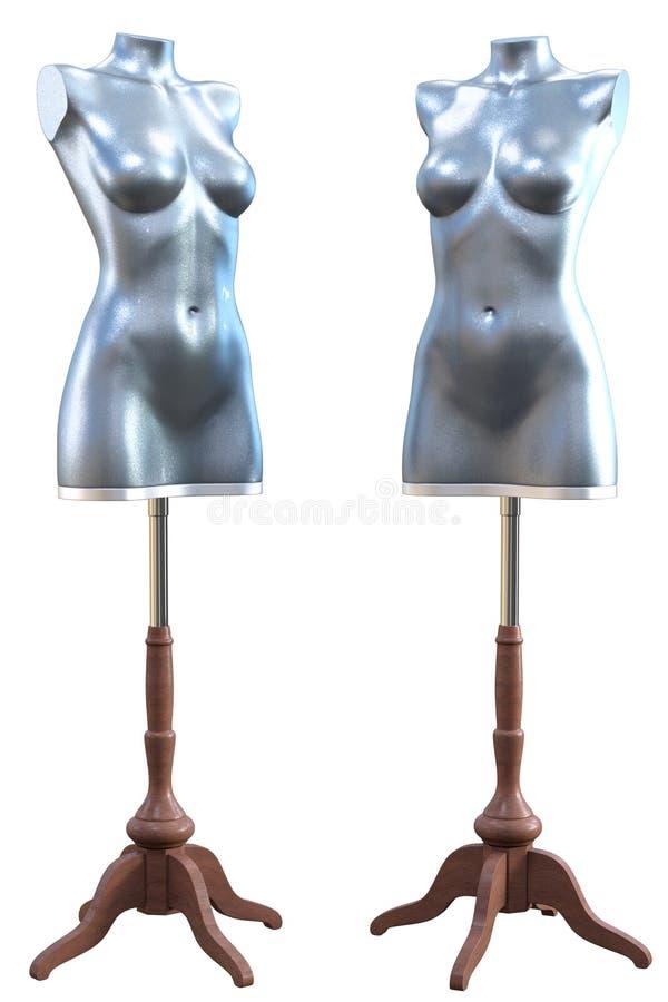 2 манекена на стойках - серебряное angled стоковые изображения