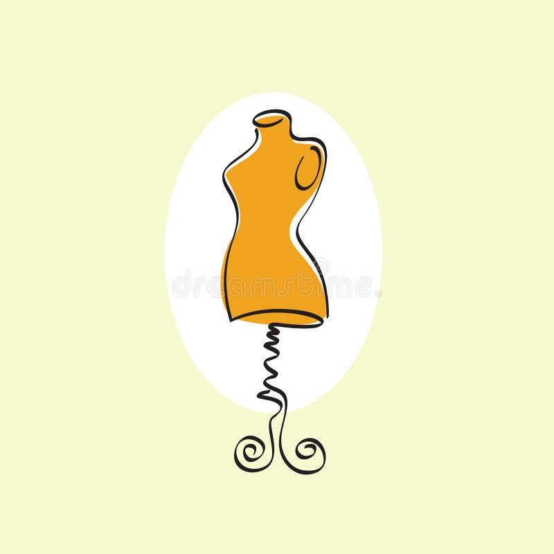 Манекен на стойке Женская иллюстрация портноя Манекен в овале на светлой предпосылке иллюстрация вектора