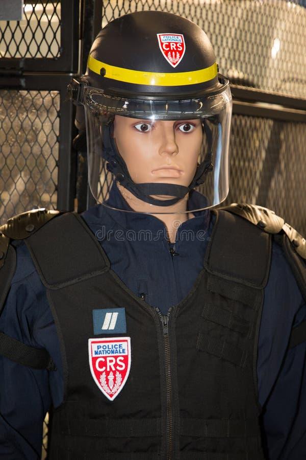 Манекен показывает CRS одежд полиции в Франции стоковая фотография rf