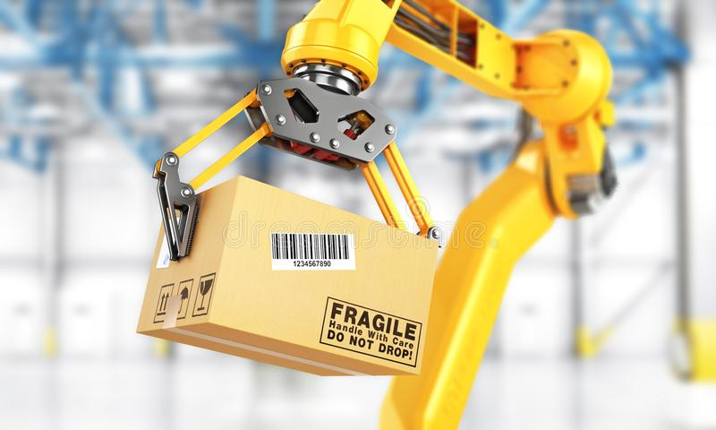 Манипулятор фабрики Автоматическое владение руки картонная коробка над транспортером бесплатная иллюстрация