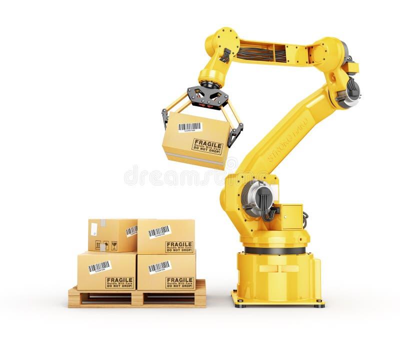 Манипулятор фабрики Автоматическое владение руки картонная коробка над транспортером иллюстрация штока
