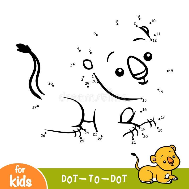 Манипуляция цифрами, игра для детей, новичок образования льва иллюстрация вектора