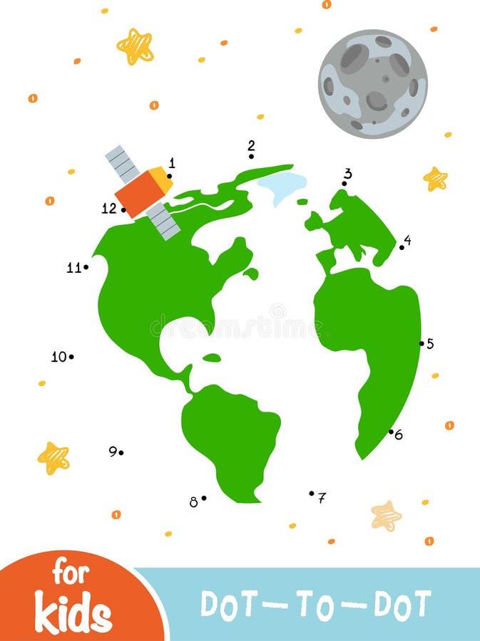 Манипуляция цифрами, точка для того чтобы поставить точки игра для детей, луна земли и спутник иллюстрация штока