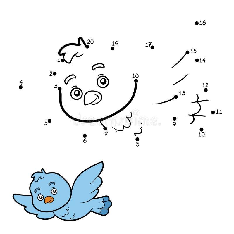Манипуляция цифрами, точка, который нужно поставить точки (птица) иллюстрация вектора