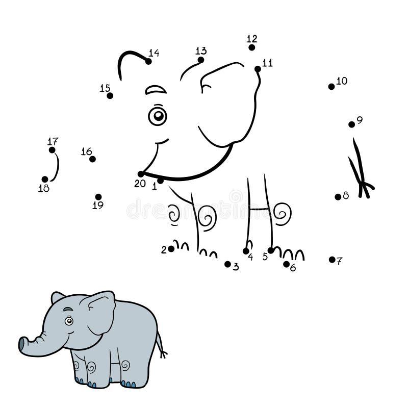 Манипуляция цифрами, точка, который нужно поставить точки (слон) иллюстрация вектора