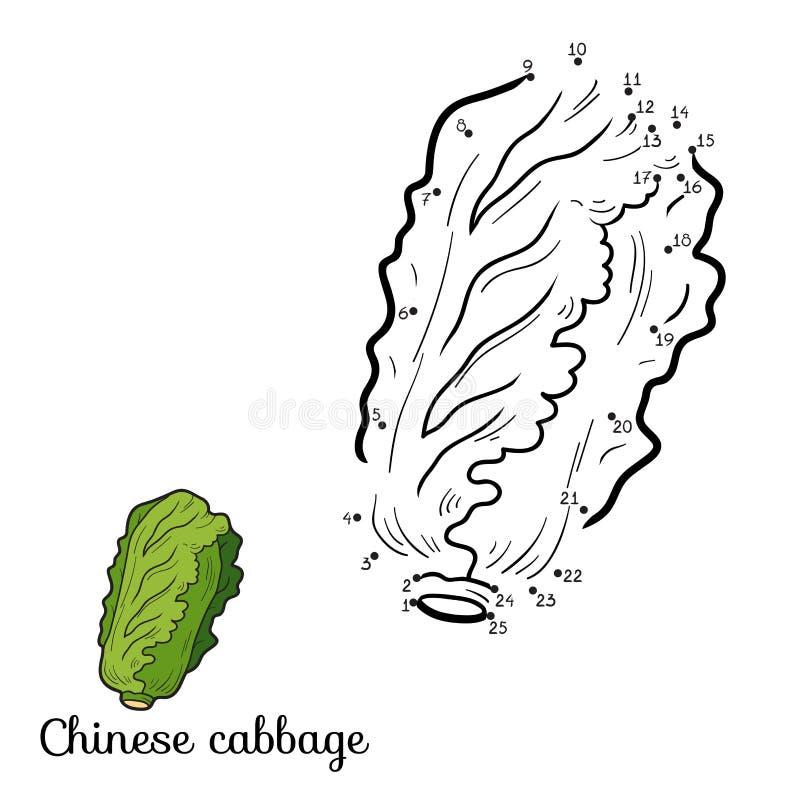 Манипуляция цифрами: фрукты и овощи (китайская капуста) иллюстрация штока