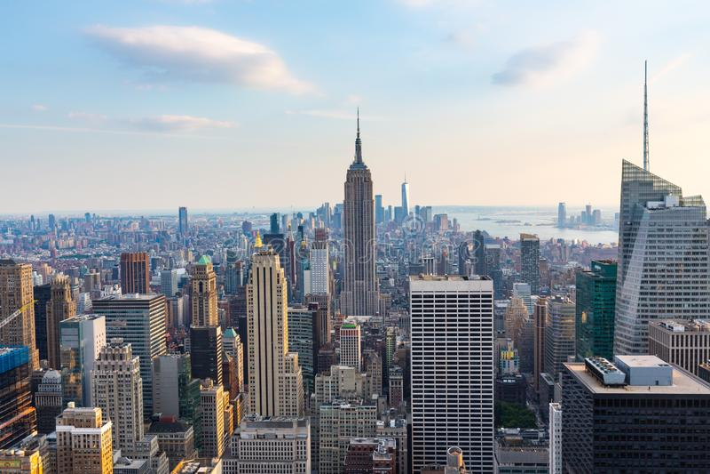 Манхаттан - взгляд от верхней части утеса - центр Рокефеллер - Нью-Йорк стоковое фото rf