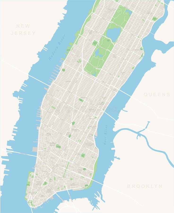 Манхаттан карты Нью-Йорка - более низкое и среднее иллюстрация вектора