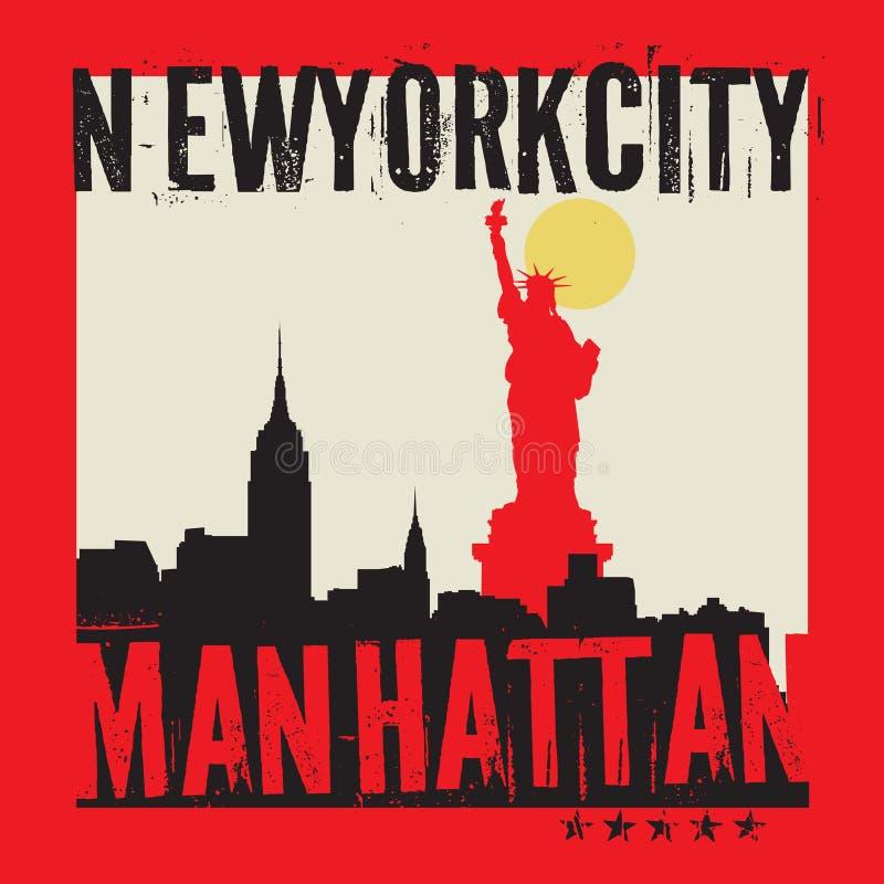 Манхаттан, Нью-Йорк, иллюстрация силуэта иллюстрация вектора