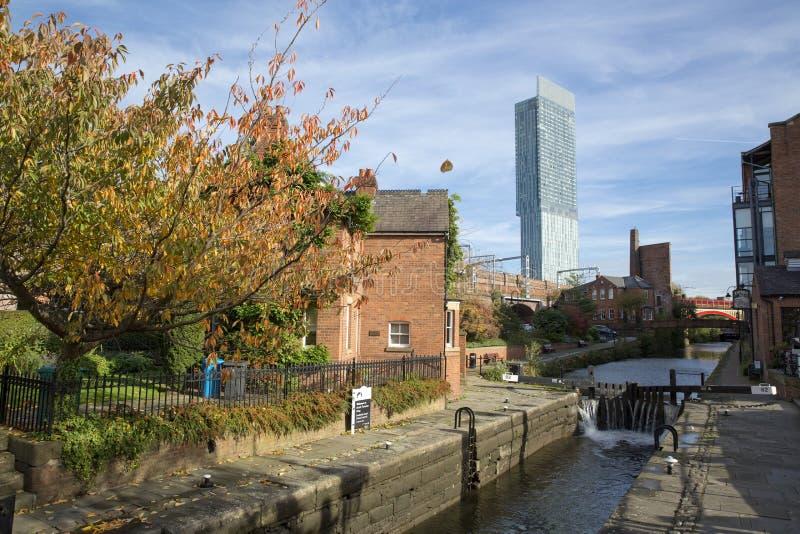 Манчестер, больший Манчестер, Великобритания, октябрь 2013, башня Beetham, aka башня Hilton Hotel стоковые фото