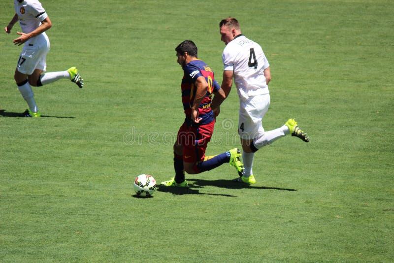 Манчестер Юнайтед против Барселона на международной чашке чемпионов стоковое фото
